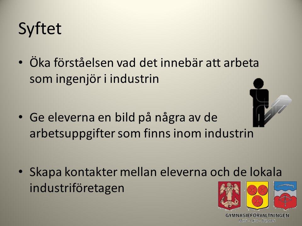 Syftet Öka förståelsen vad det innebär att arbeta som ingenjör i industrin.
