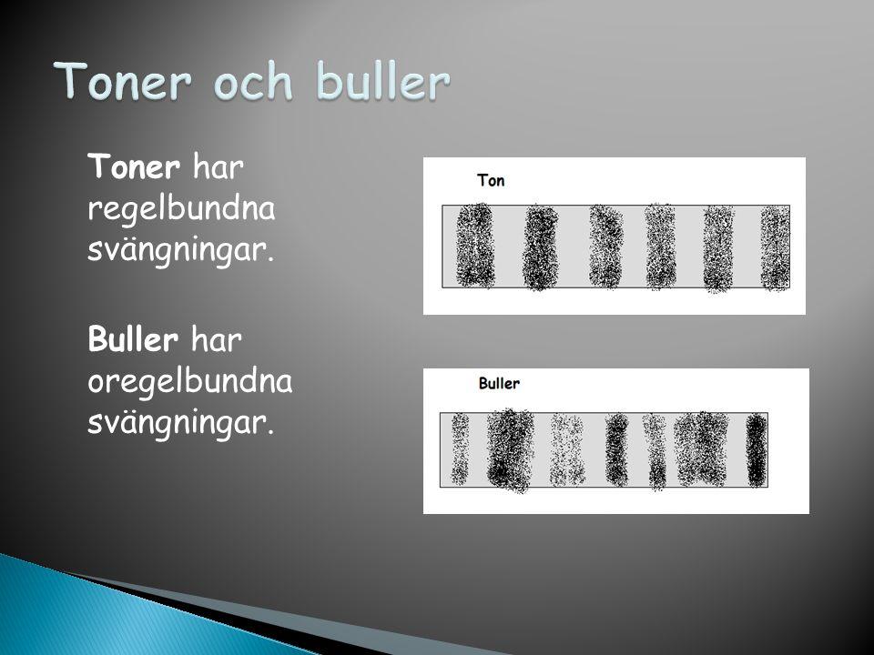 Toner och buller Toner har regelbundna svängningar. Buller har oregelbundna svängningar.