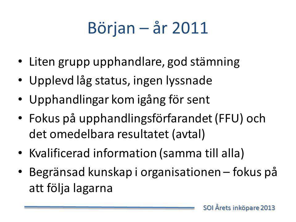 Början – år 2011 Liten grupp upphandlare, god stämning
