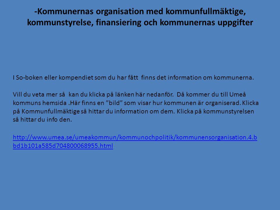 -Kommunernas organisation med kommunfullmäktige, kommunstyrelse, finansiering och kommunernas uppgifter