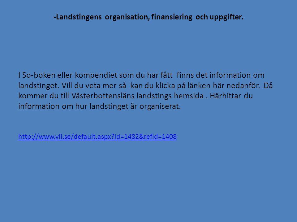 -Landstingens organisation, finansiering och uppgifter.