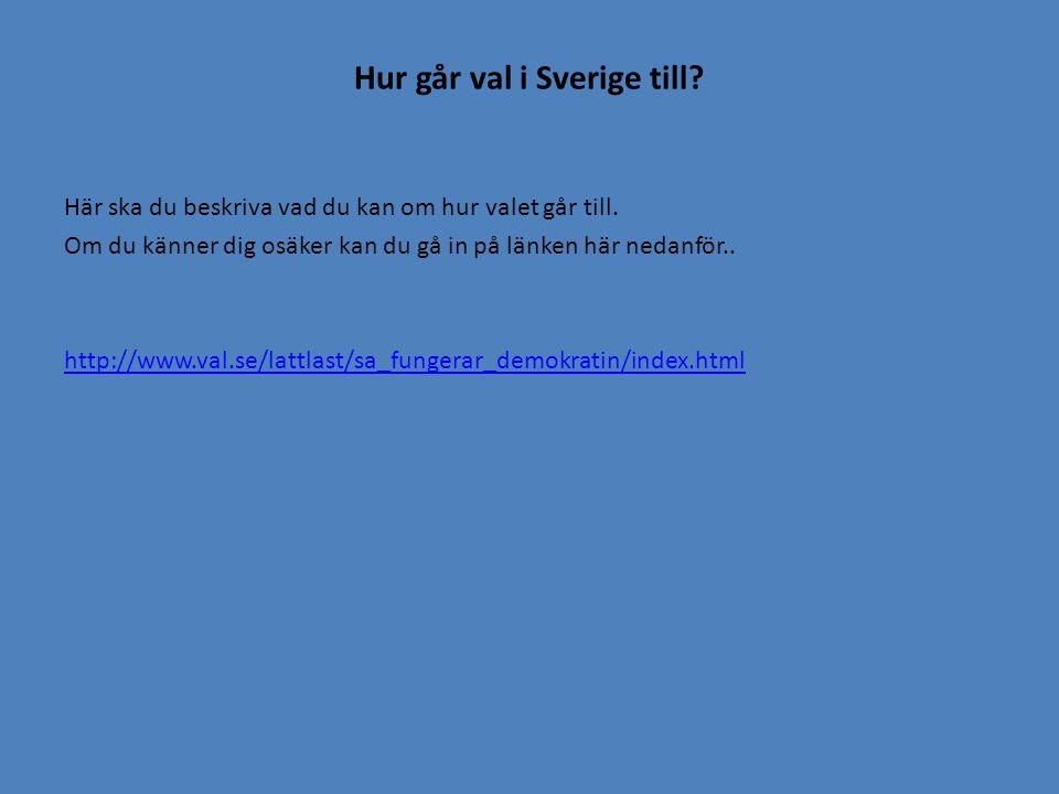 Hur går val i Sverige till