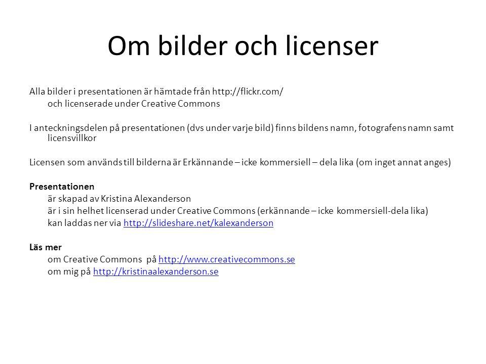 Om bilder och licenser