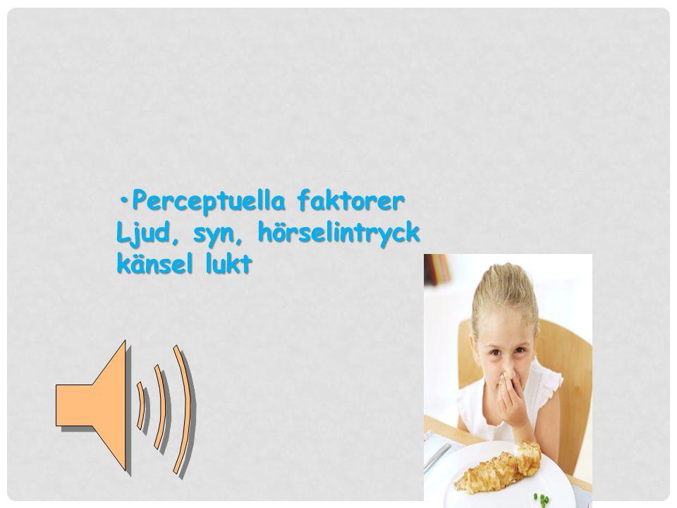 •Perceptuella faktorer Ljud, syn, hörselintryck känsel lukt
