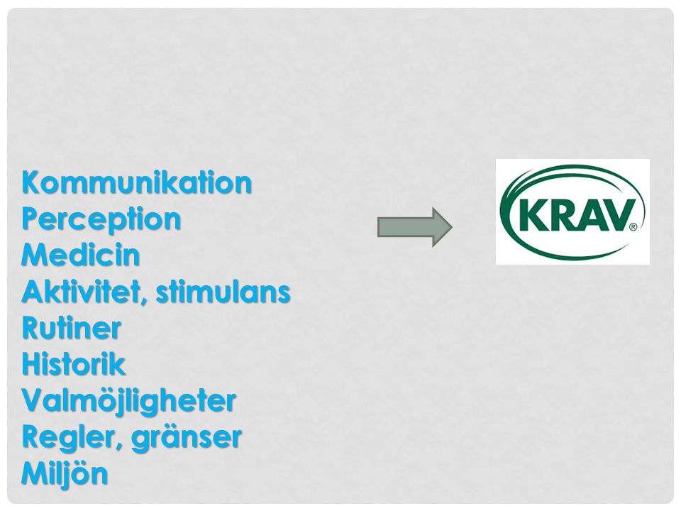 Kommunikation Perception. Medicin. Aktivitet, stimulans. Rutiner. Historik. Valmöjligheter. Regler, gränser.