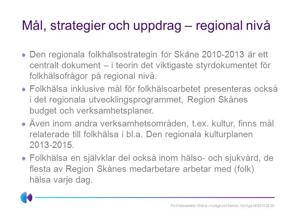 Mål, strategier och uppdrag – regional nivå
