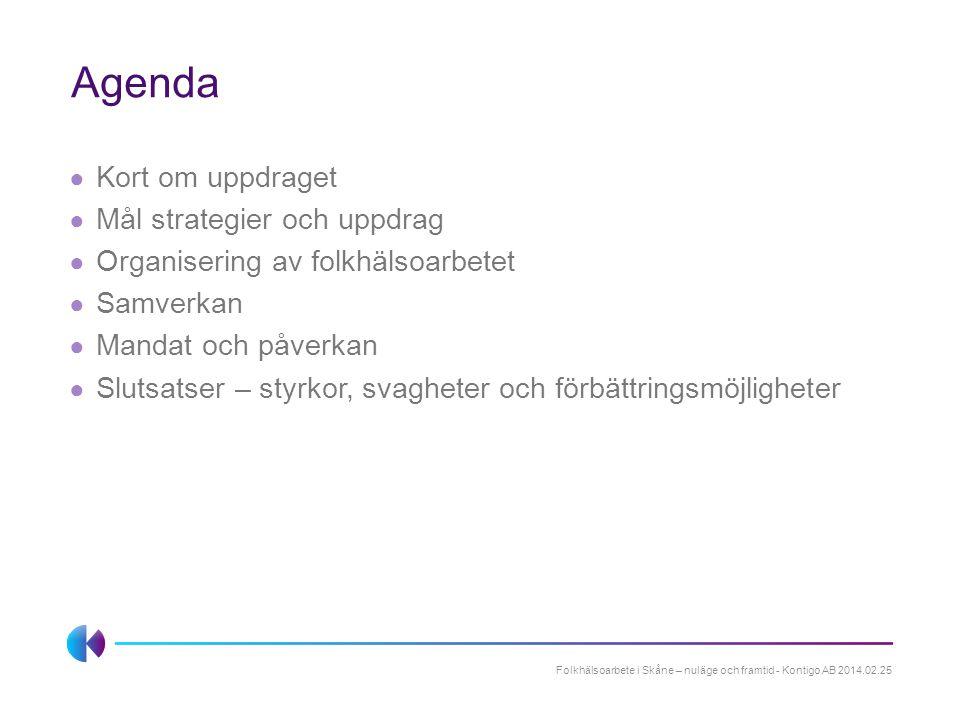 Agenda Kort om uppdraget Mål strategier och uppdrag