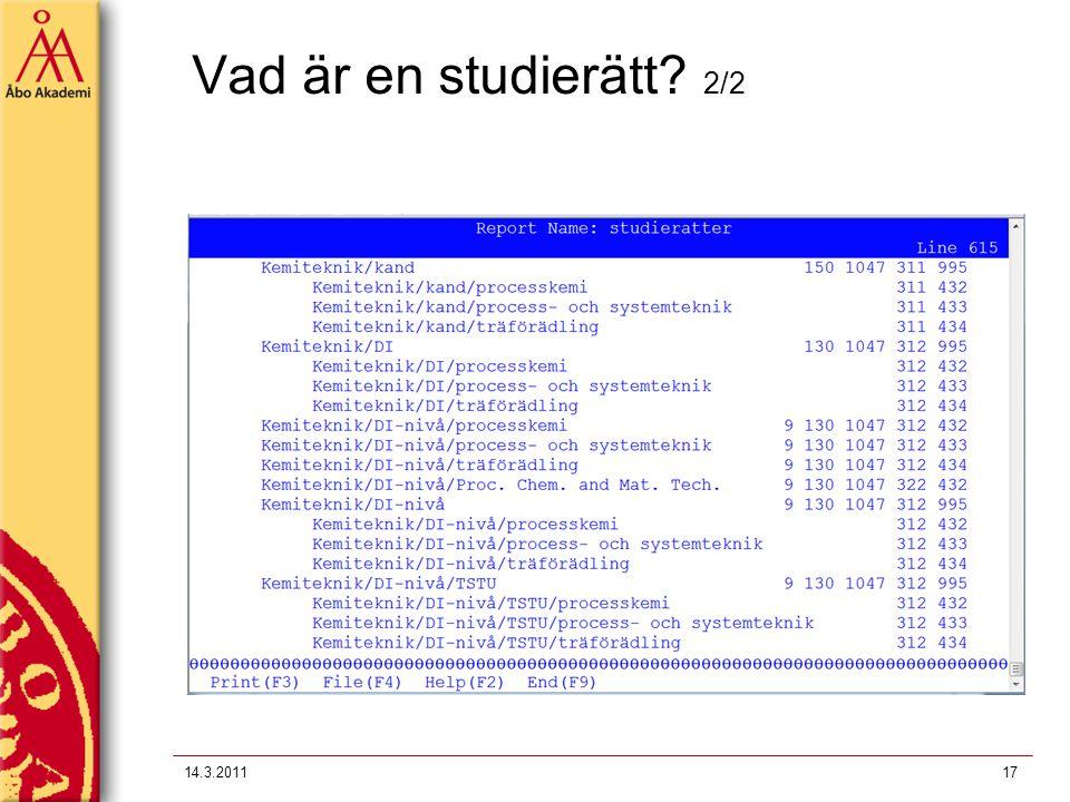 Vad är en studierätt 2/2 14.3.2011