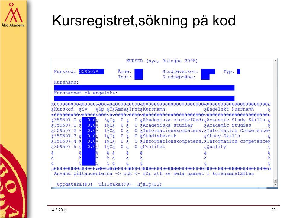 Kursregistret,sökning på kod