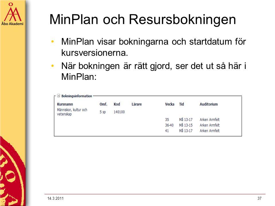 MinPlan och Resursbokningen