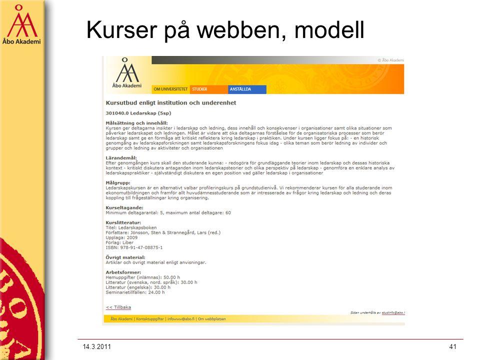 Kurser på webben, modell