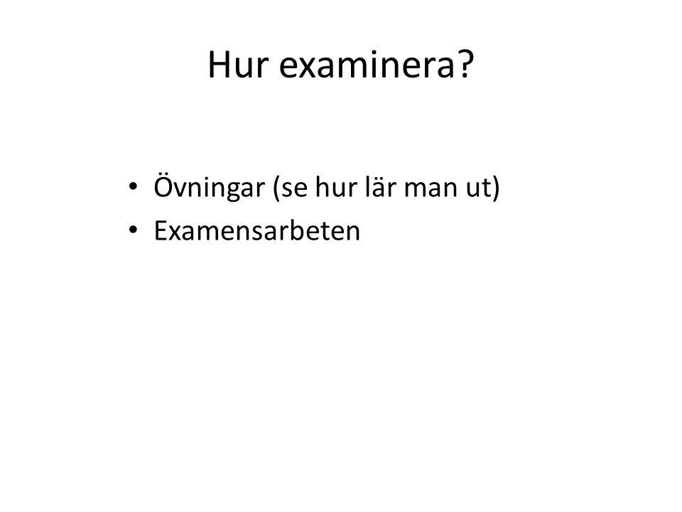 Hur examinera Övningar (se hur lär man ut) Examensarbeten