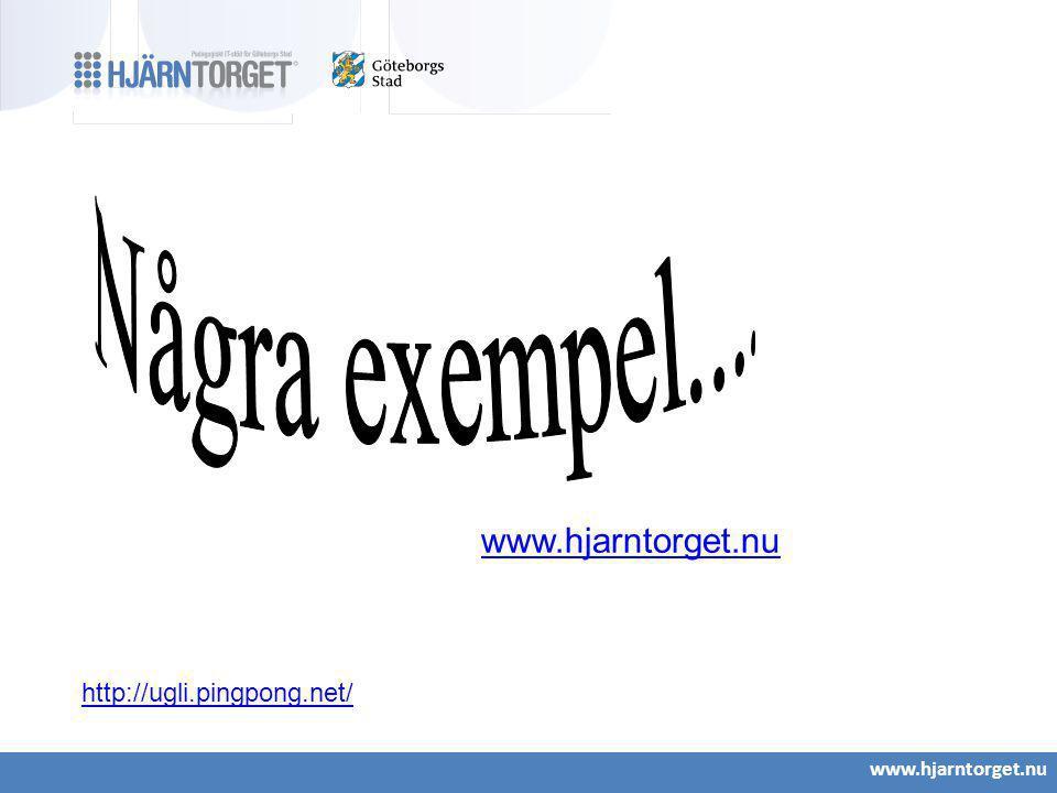 Några exempel.... www.hjarntorget.nu http://ugli.pingpong.net/