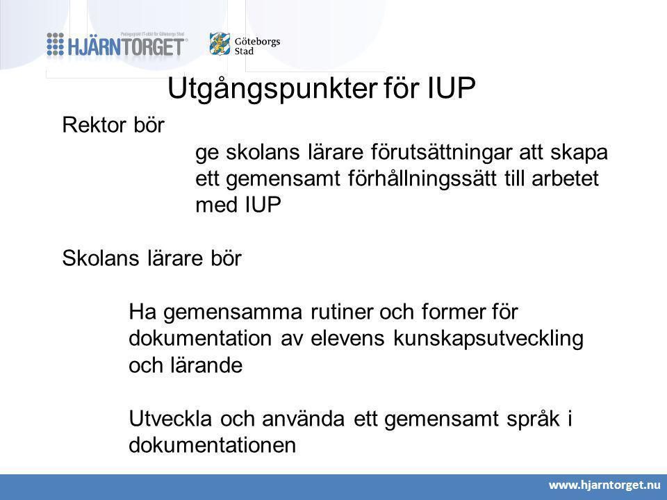 Utgångspunkter för IUP