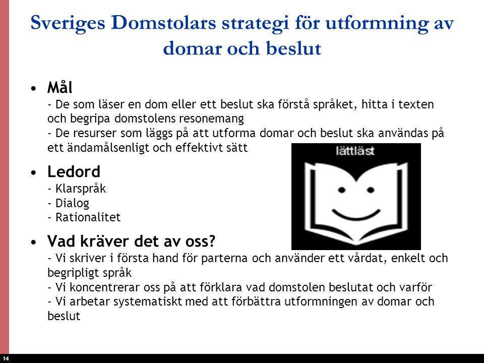 Sveriges Domstolars strategi för utformning av domar och beslut
