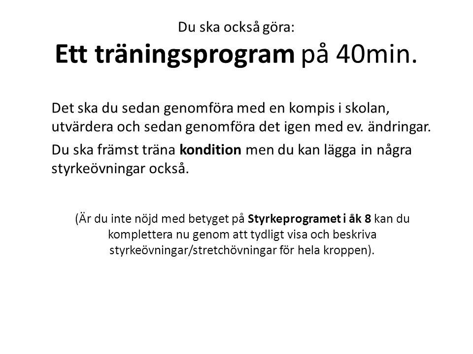Du ska också göra: Ett träningsprogram på 40min.