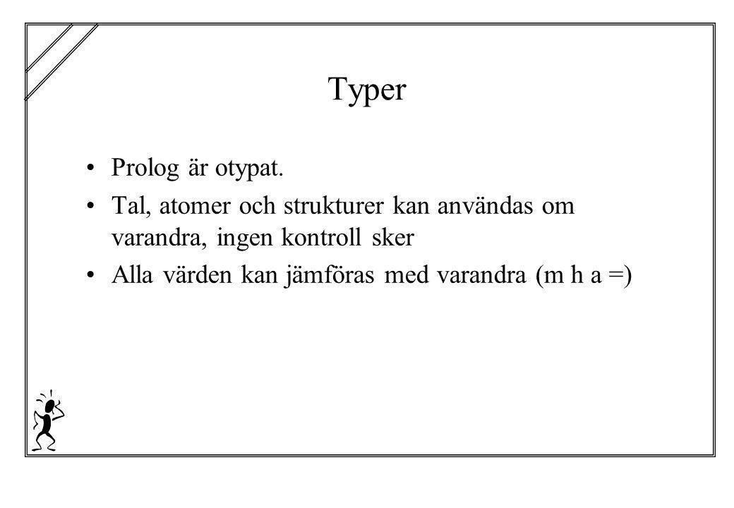 Typer Prolog är otypat. Tal, atomer och strukturer kan användas om varandra, ingen kontroll sker.