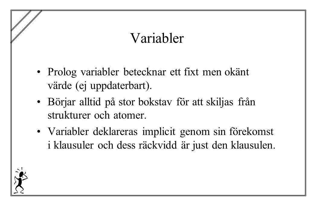 Variabler Prolog variabler betecknar ett fixt men okänt värde (ej uppdaterbart).