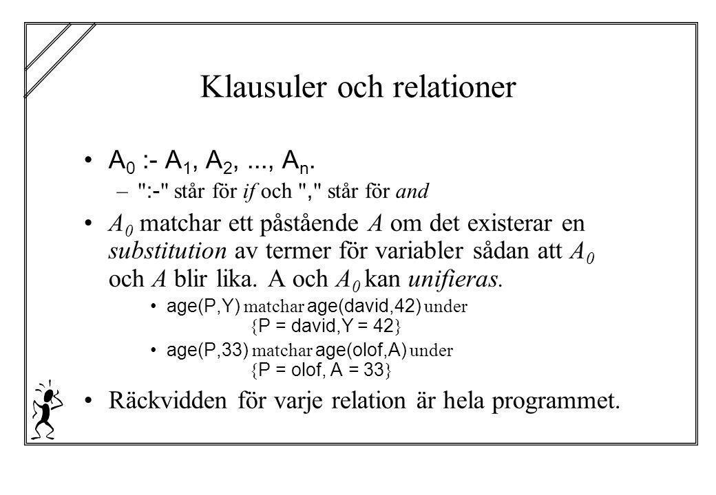 Klausuler och relationer