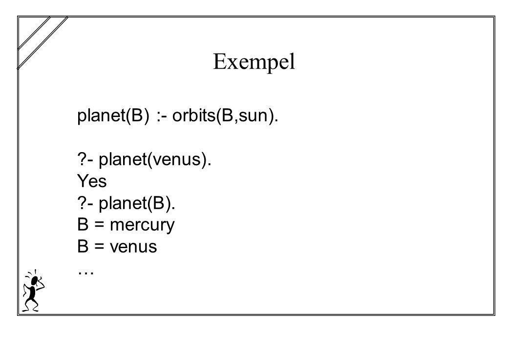 Exempel planet(B) :- orbits(B,sun). - planet(venus). Yes - planet(B). B = mercury B = venus …