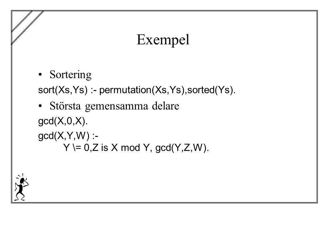 Exempel Sortering Största gemensamma delare