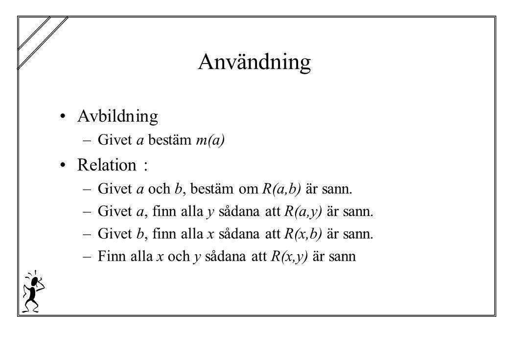 Användning Avbildning Relation : Givet a bestäm m(a)