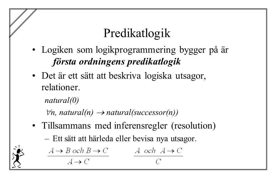 Predikatlogik Logiken som logikprogrammering bygger på är första ordningens predikatlogik.