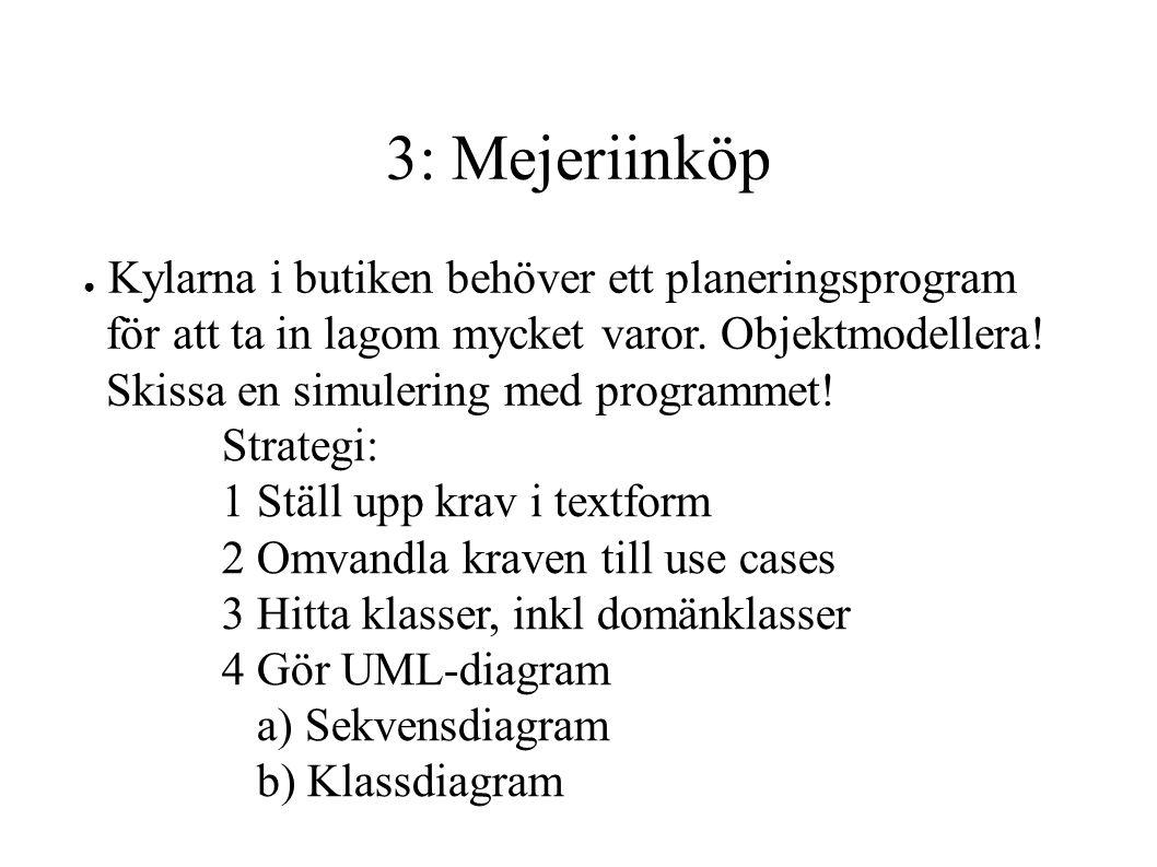 3: Mejeriinköp Kylarna i butiken behöver ett planeringsprogram