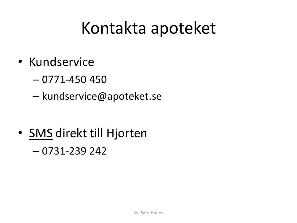 Kontakta apoteket Kundservice SMS direkt till Hjorten 0771-450 450