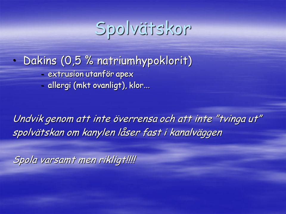 Spolvätskor Dakins (0,5 % natriumhypoklorit)