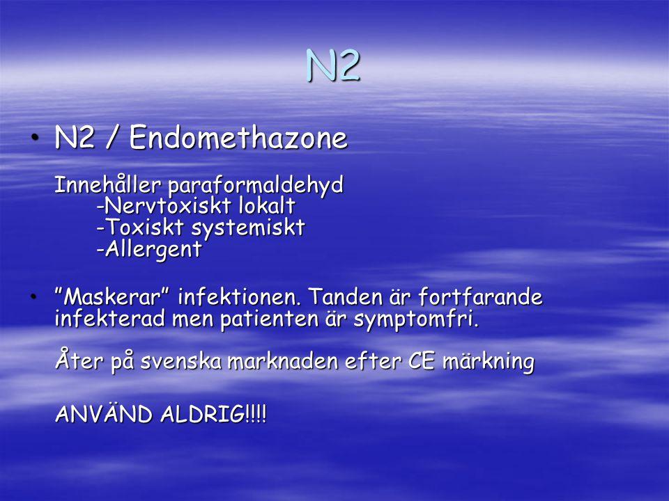 N2 N2 / Endomethazone Innehåller paraformaldehyd -Nervtoxiskt lokalt -Toxiskt systemiskt -Allergent.