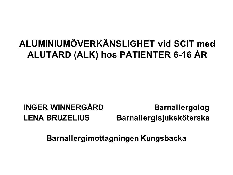 ALUMINIUMÖVERKÄNSLIGHET vid SCIT med ALUTARD (ALK) hos PATIENTER 6-16 ÅR