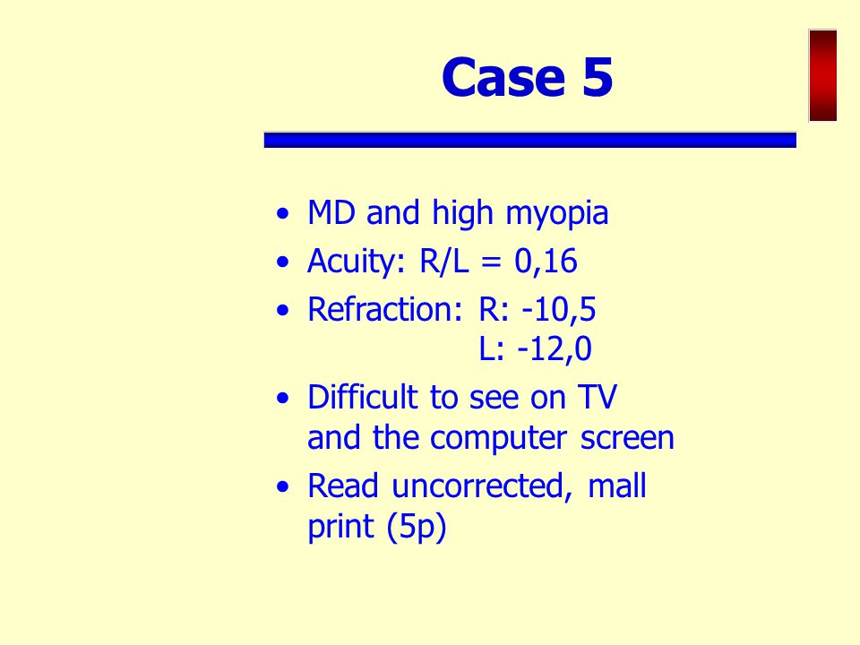 Case 5 MD and high myopia Acuity: R/L = 0,16