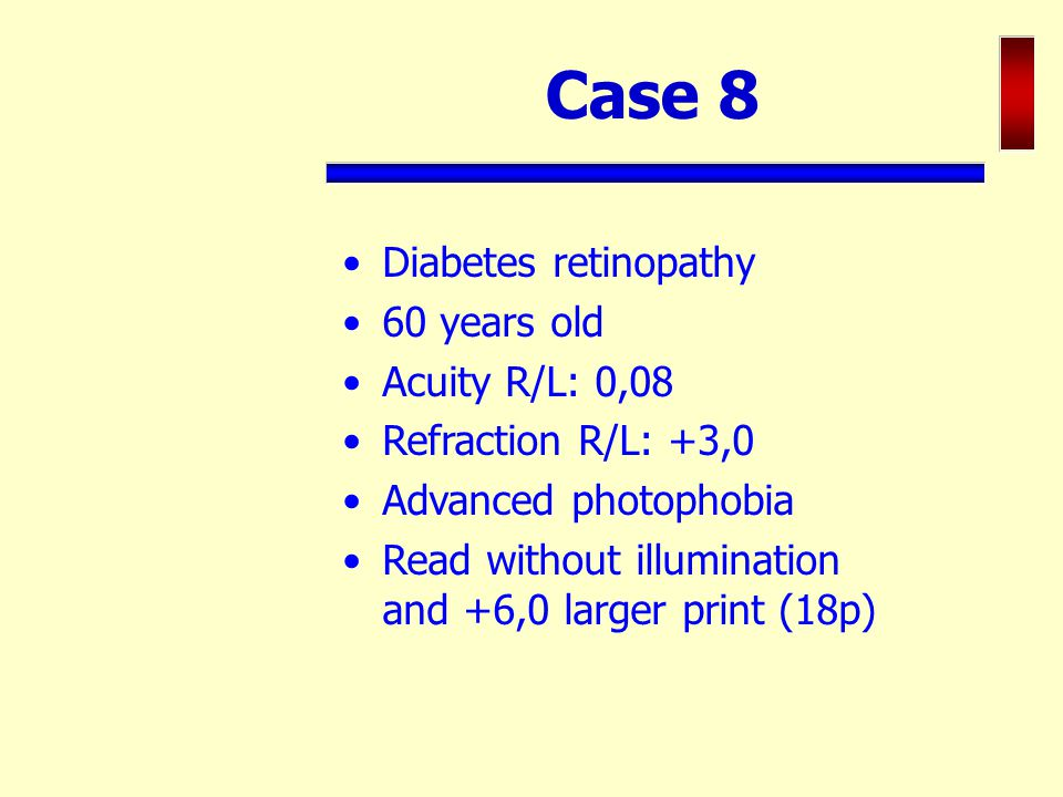 Case 8 Diabetes retinopathy 60 years old Acuity R/L: 0,08