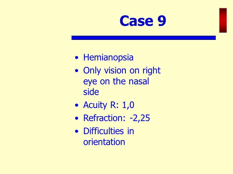 Case 9 Hemianopsia Only vision on right eye on the nasal side