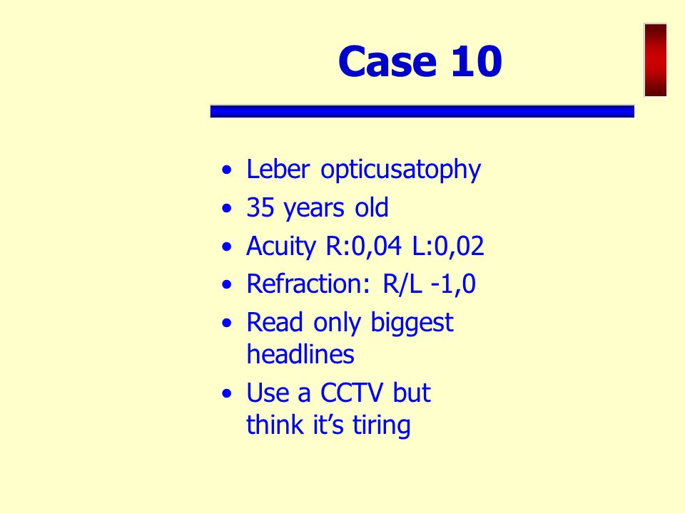 Case 10 Leber opticusatophy 35 years old Acuity R:0,04 L:0,02
