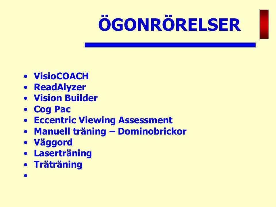 ÖGONRÖRELSER VisioCOACH ReadAlyzer Vision Builder Cog Pac
