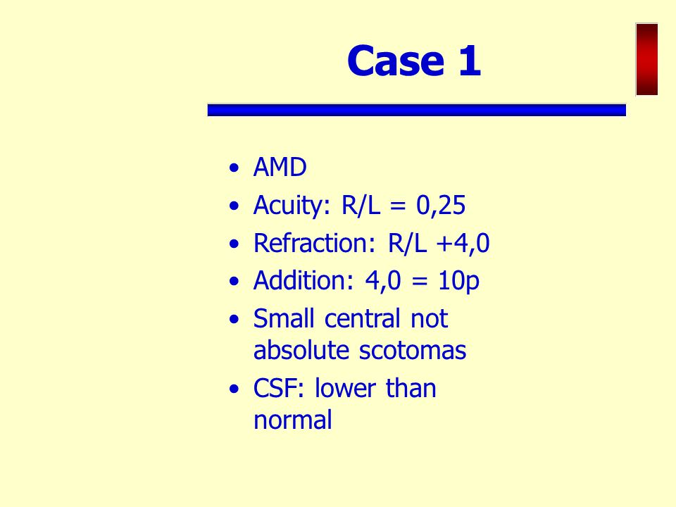 Case 1 AMD Acuity: R/L = 0,25 Refraction: R/L +4,0 Addition: 4,0 = 10p