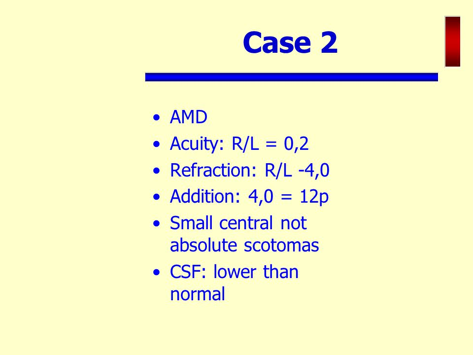 Case 2 AMD Acuity: R/L = 0,2 Refraction: R/L -4,0 Addition: 4,0 = 12p