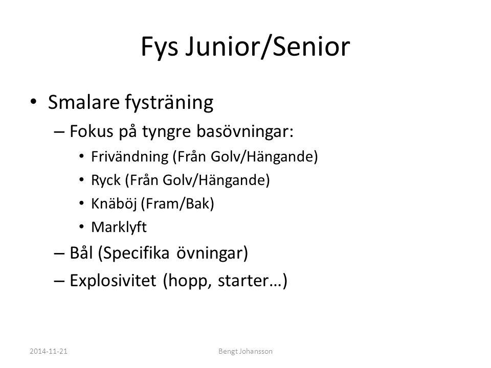 Fys Junior/Senior Smalare fysträning Fokus på tyngre basövningar: