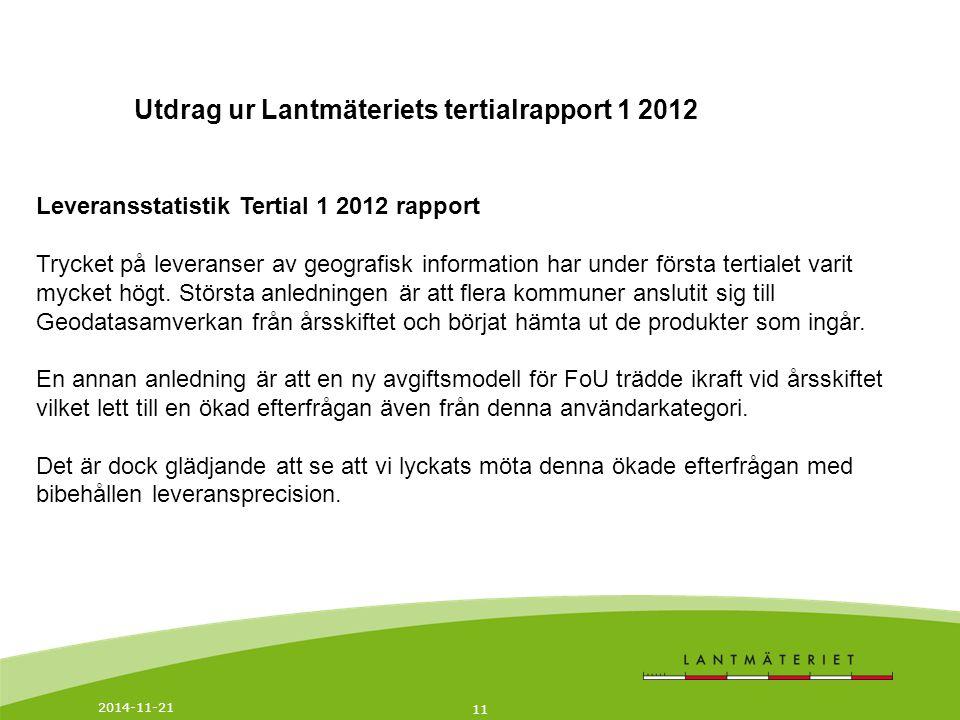 Utdrag ur Lantmäteriets tertialrapport 1 2012