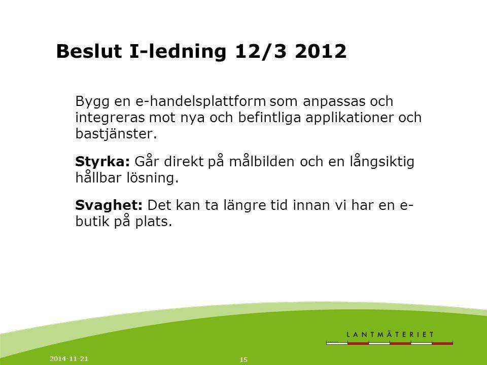 Beslut I-ledning 12/3 2012 Bygg en e-handelsplattform som anpassas och integreras mot nya och befintliga applikationer och bastjänster.