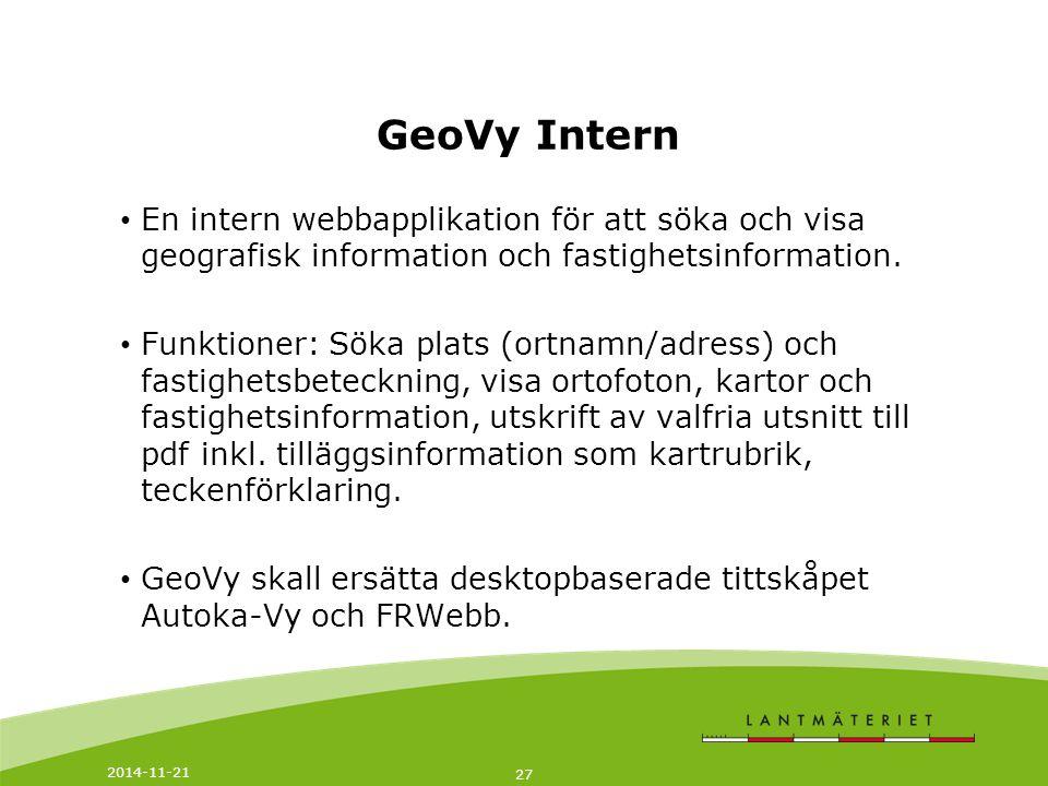 GeoVy Intern En intern webbapplikation för att söka och visa geografisk information och fastighetsinformation.