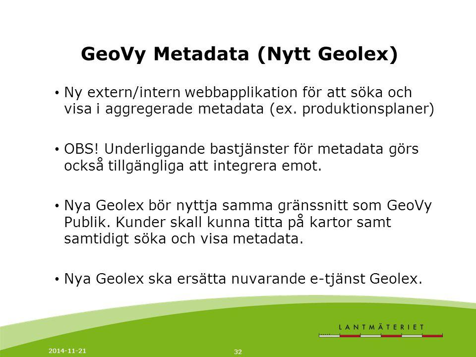 GeoVy Metadata (Nytt Geolex)