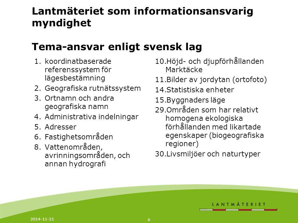 Lantmäteriet som informationsansvarig myndighet Tema-ansvar enligt svensk lag