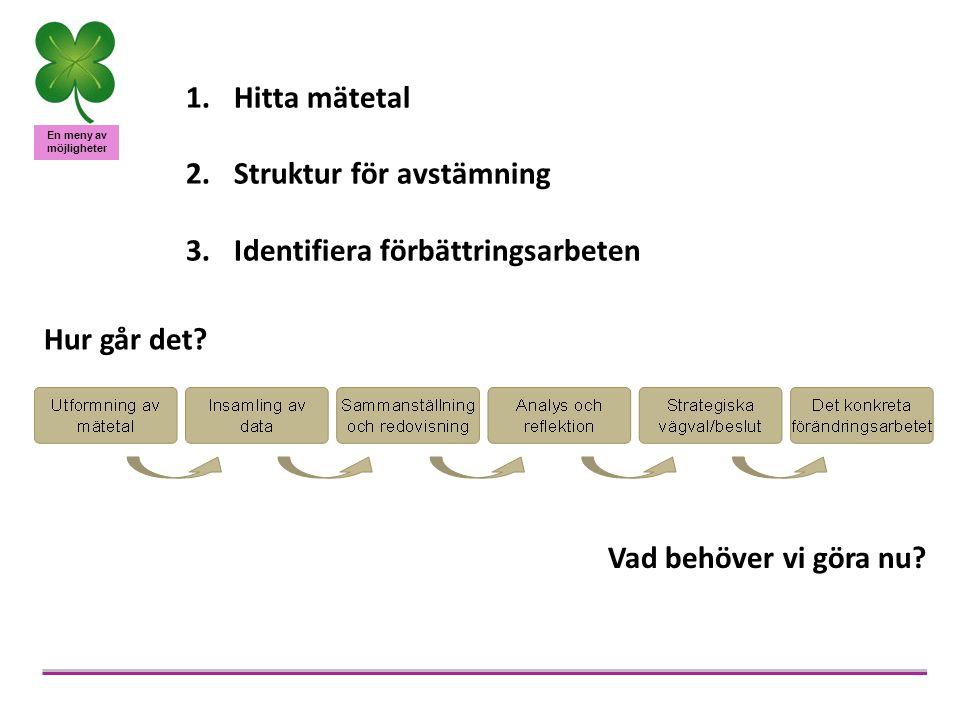 Hitta mätetal Struktur för avstämning. Identifiera förbättringsarbeten.