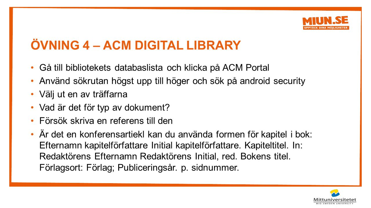 ÖVNING 4 – ACM DIGITAL LIBRARY