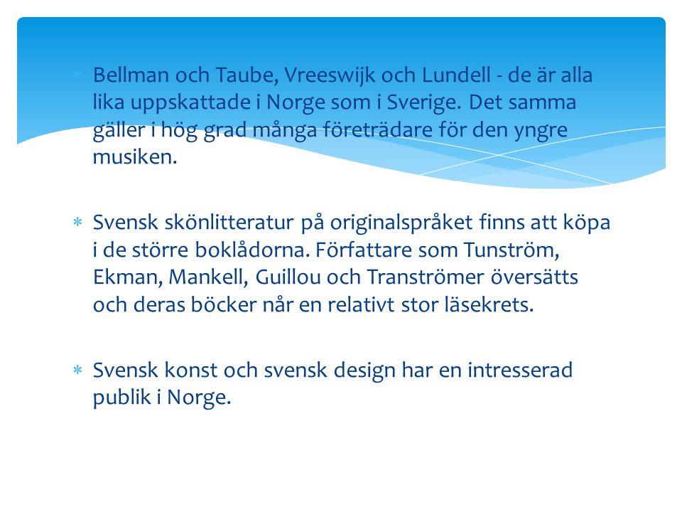 Bellman och Taube, Vreeswijk och Lundell - de är alla lika uppskattade i Norge som i Sverige. Det samma gäller i hög grad många företrädare för den yngre musiken.