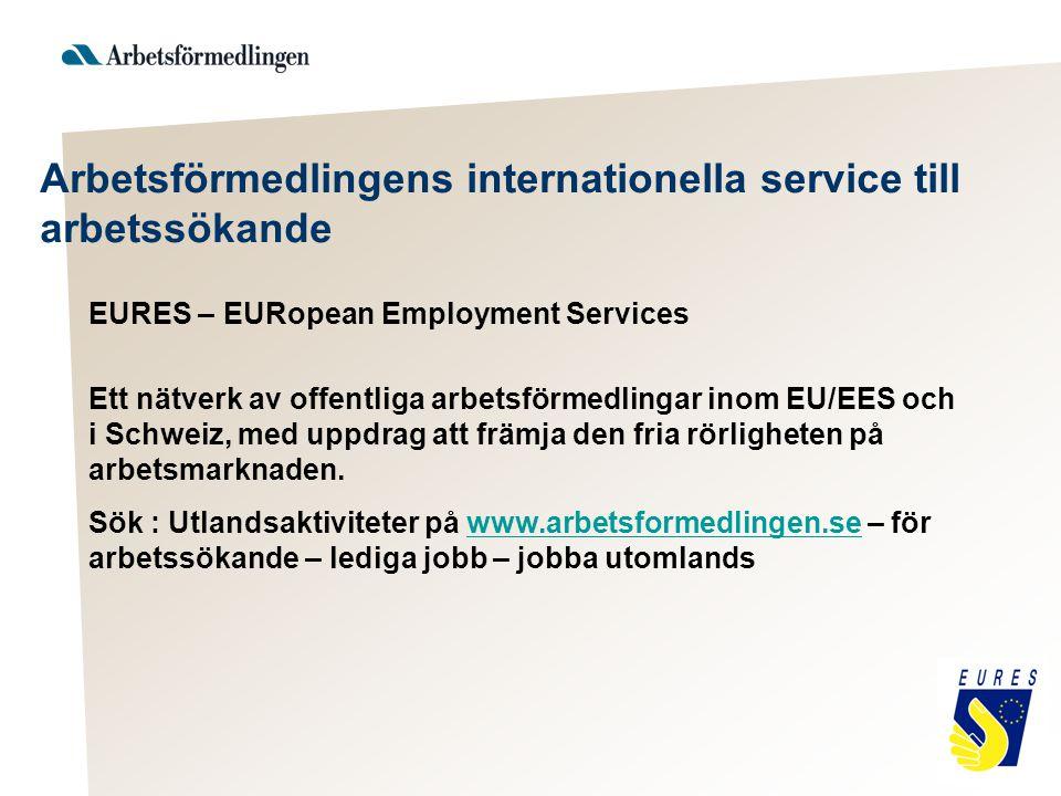 Arbetsförmedlingens internationella service till arbetssökande