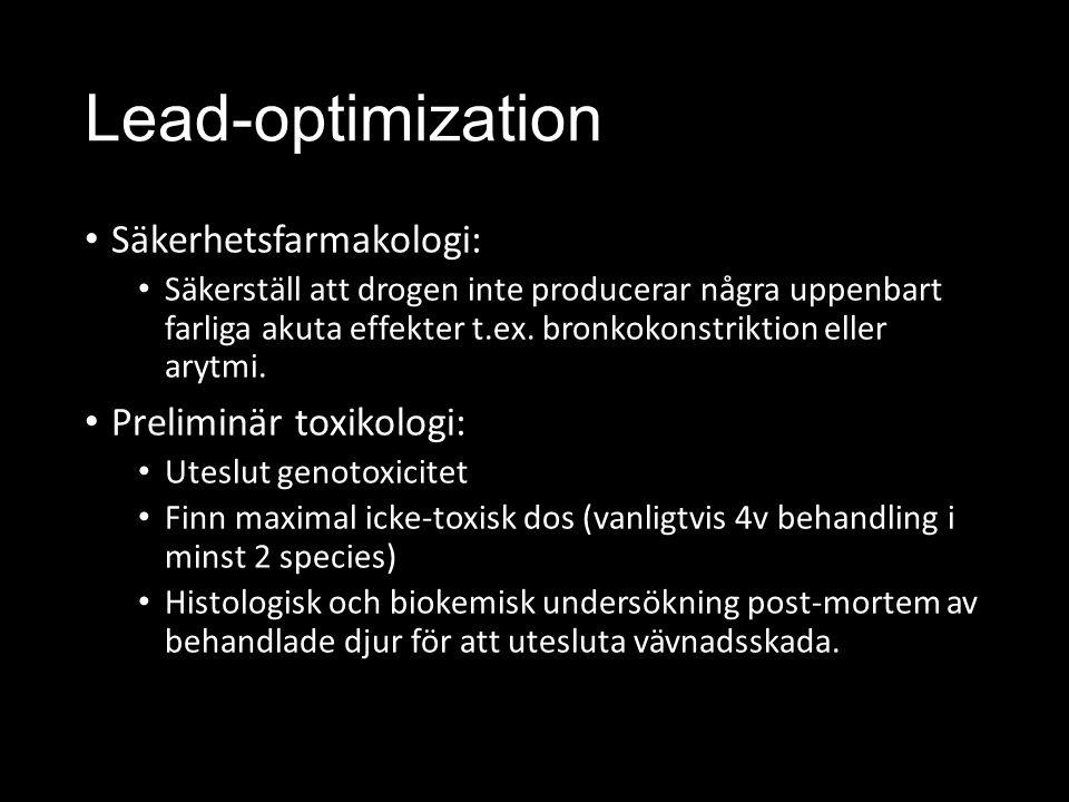Lead-optimization Säkerhetsfarmakologi: Preliminär toxikologi: